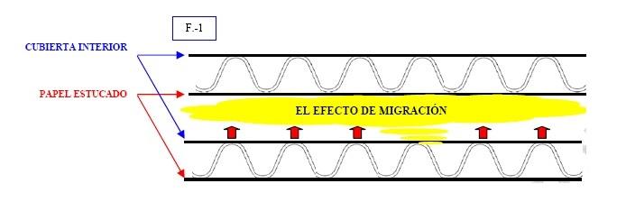 F. 1  Marcas sobre el papel estucado debido a la migración